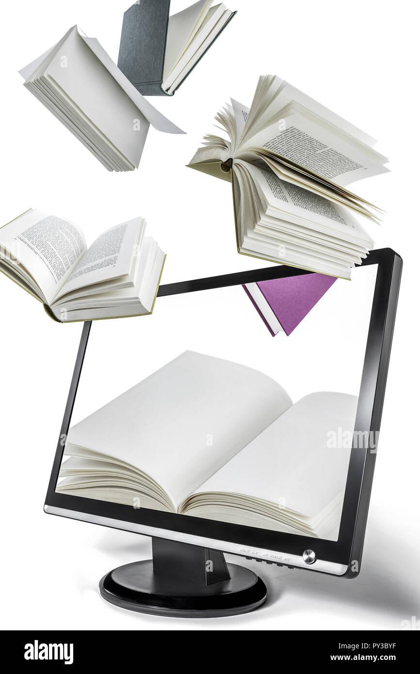 Bildschirm mit fliegenden Buechern, Montage - Stock Image
