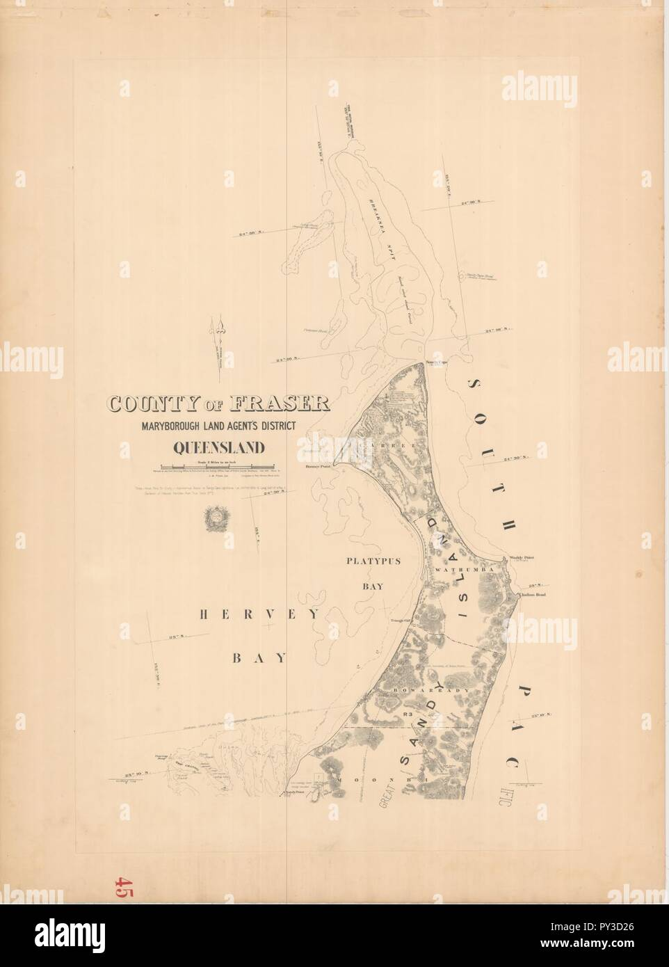 Cad-map-2mile-county-fraser-sh1-1913. - Stock Image