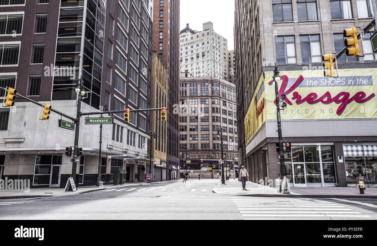 Strassenkreuzung in Detroit, USA - Stock Image