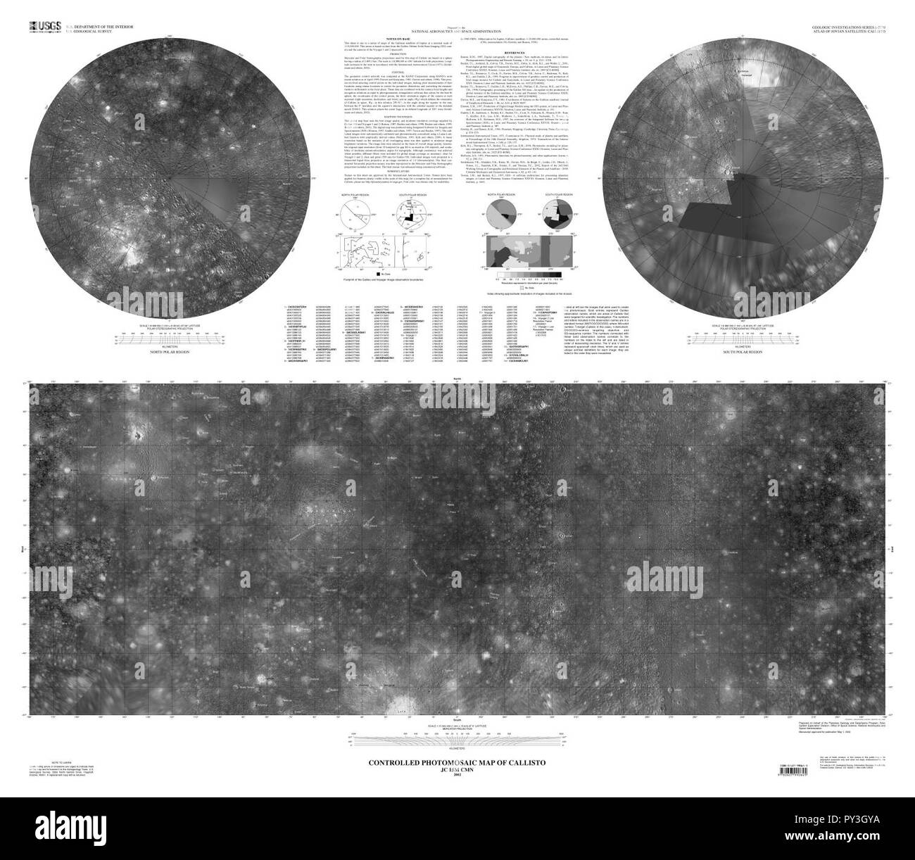 Callisto USGS map. - Stock Image