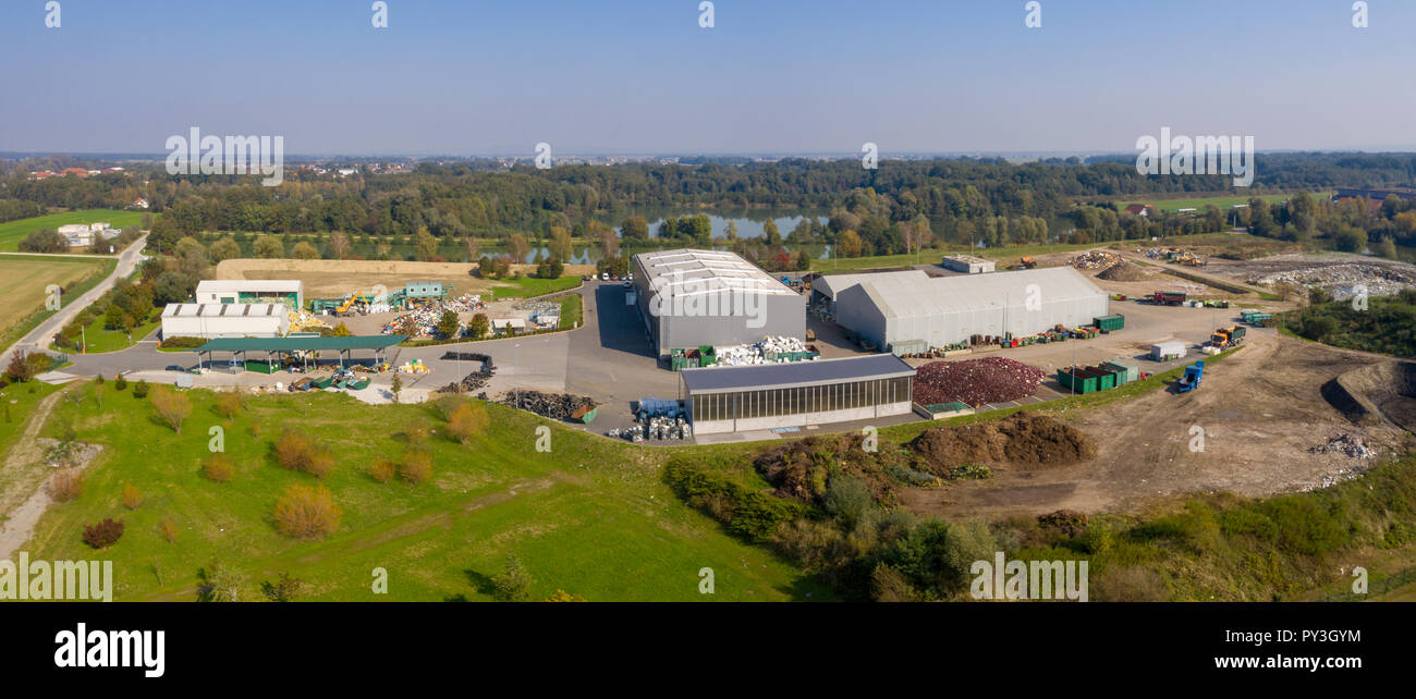 Aerial view on Waste and Recycling Centre in rural landscape, household waste displosal and treatment, ecology and earth preservation, Pragersko - Stock Image