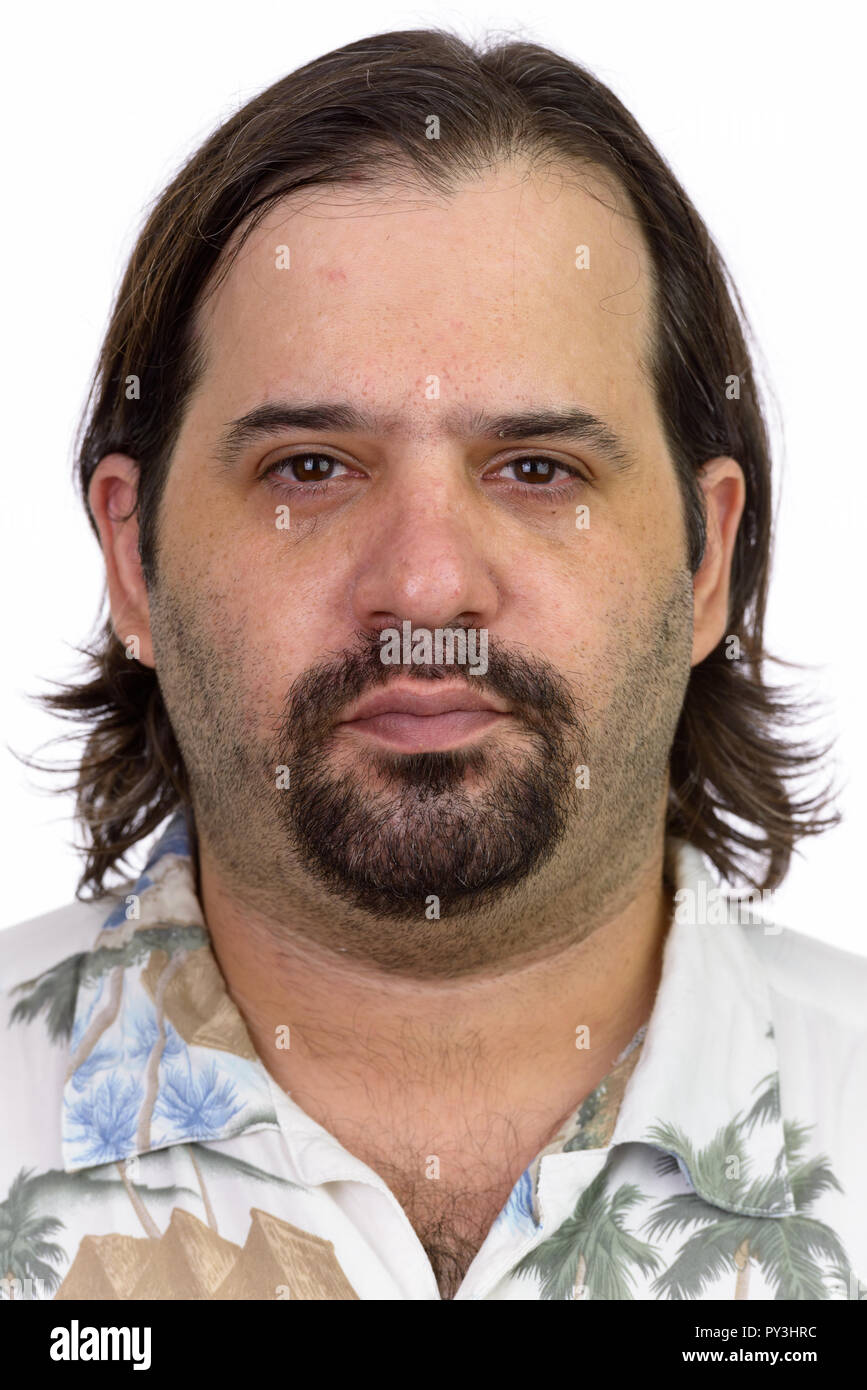 ef5c299178eef Face of fat Caucasian tourist man looking at camera Stock Photo ...