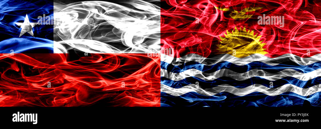 Chile, Chilean vs Kiribati smoke flags placed side by side. Concept and idea flags mix - Stock Image