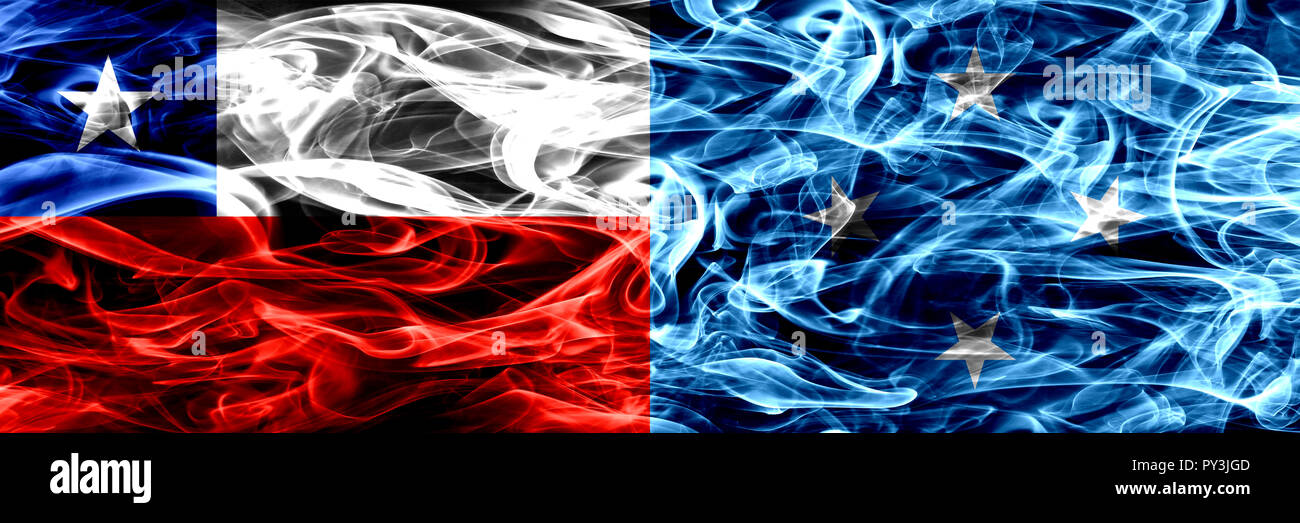 Chile, Chilean vs Micronesia, Micronesian smoke flags placed side by side. Concept and idea flags mix - Stock Image