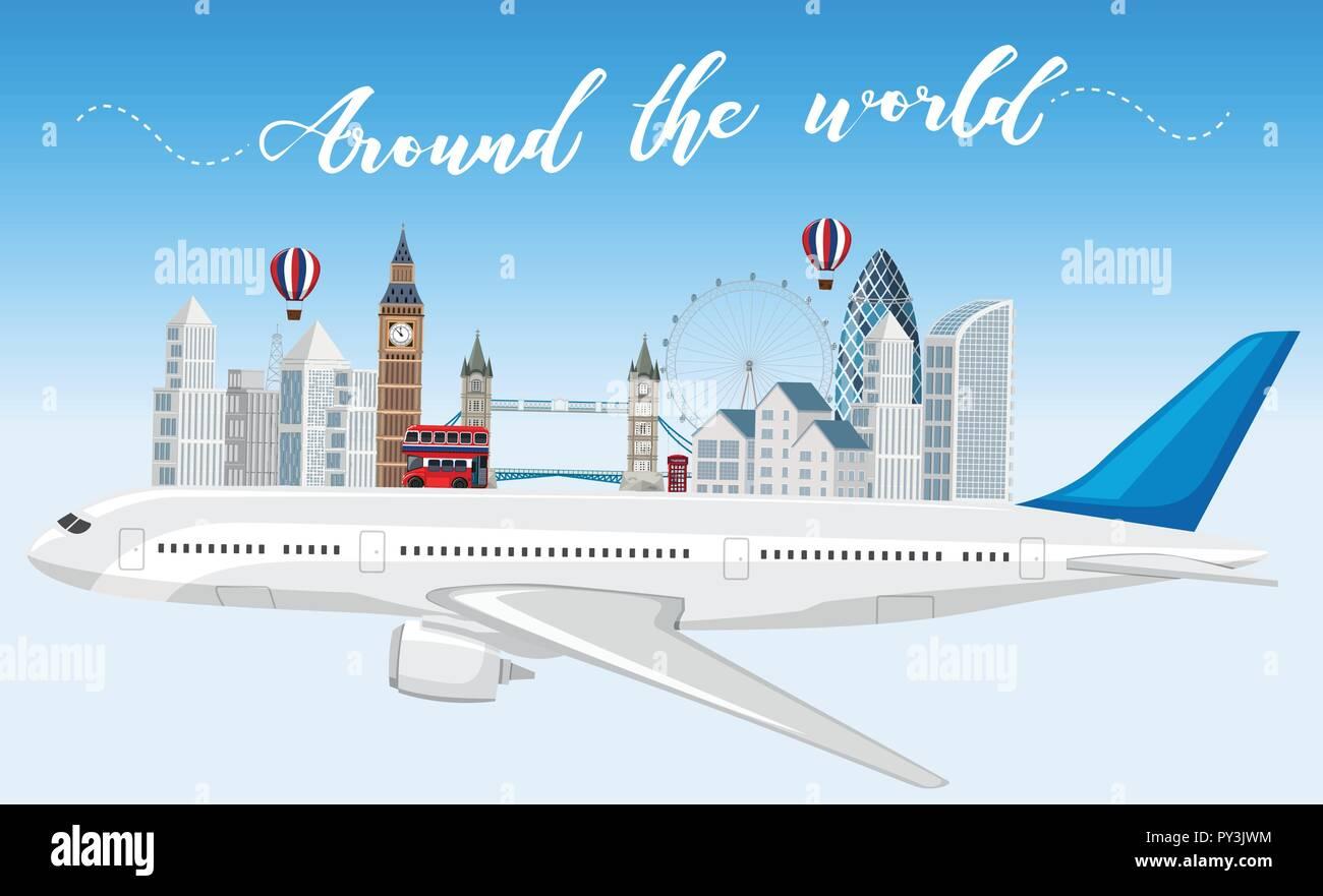 Travel around the world illustration - Stock Vector