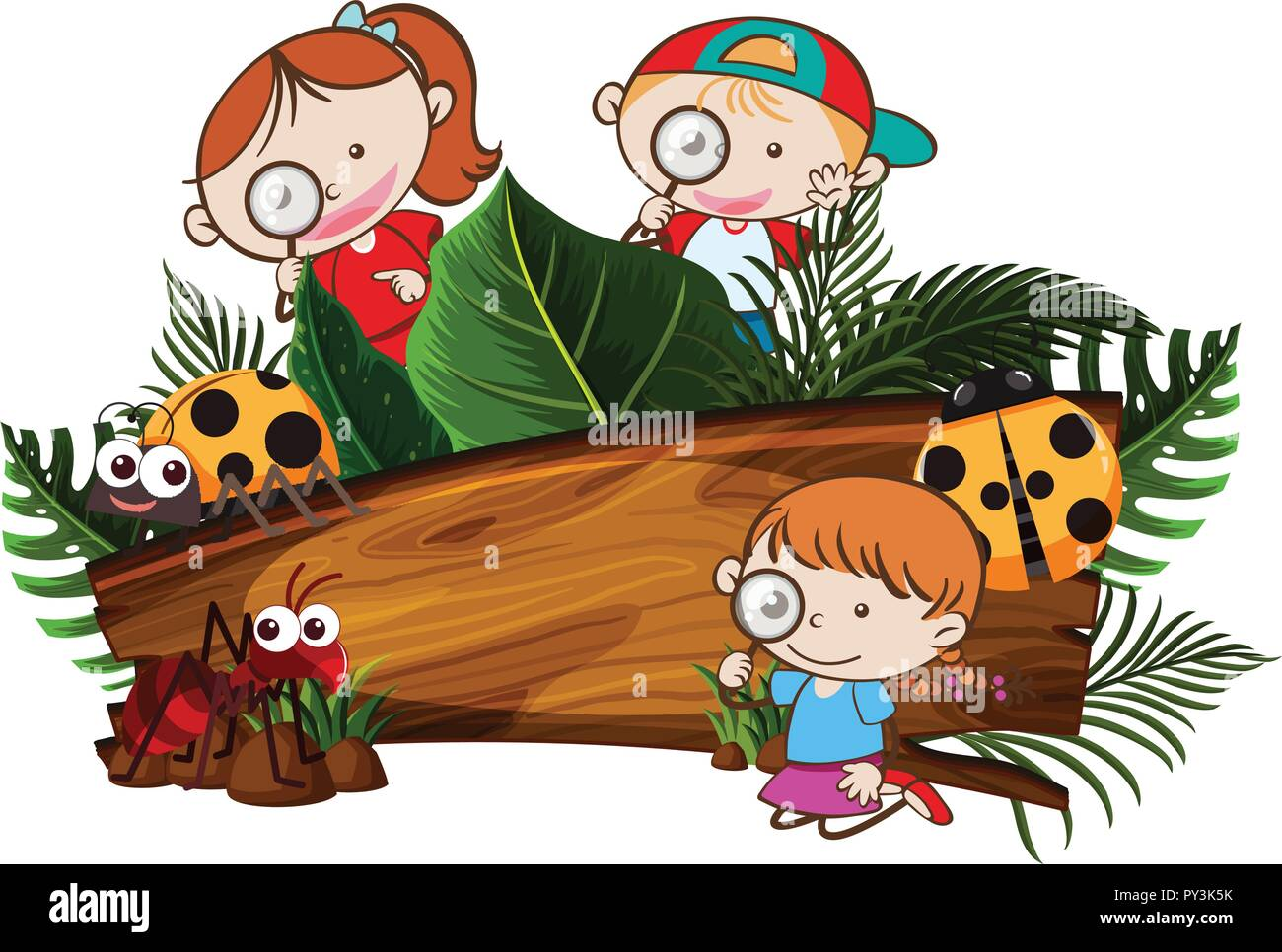 Kids Exploring the Nature Banner illustration - Stock Vector