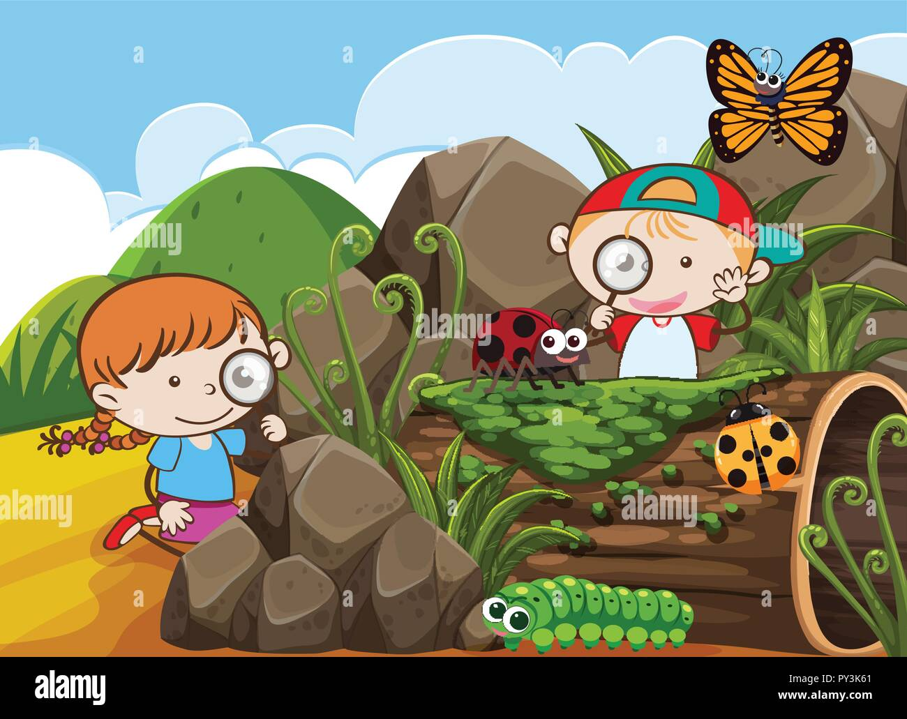 Boy and Girl Exploring the Nature illustration - Stock Vector