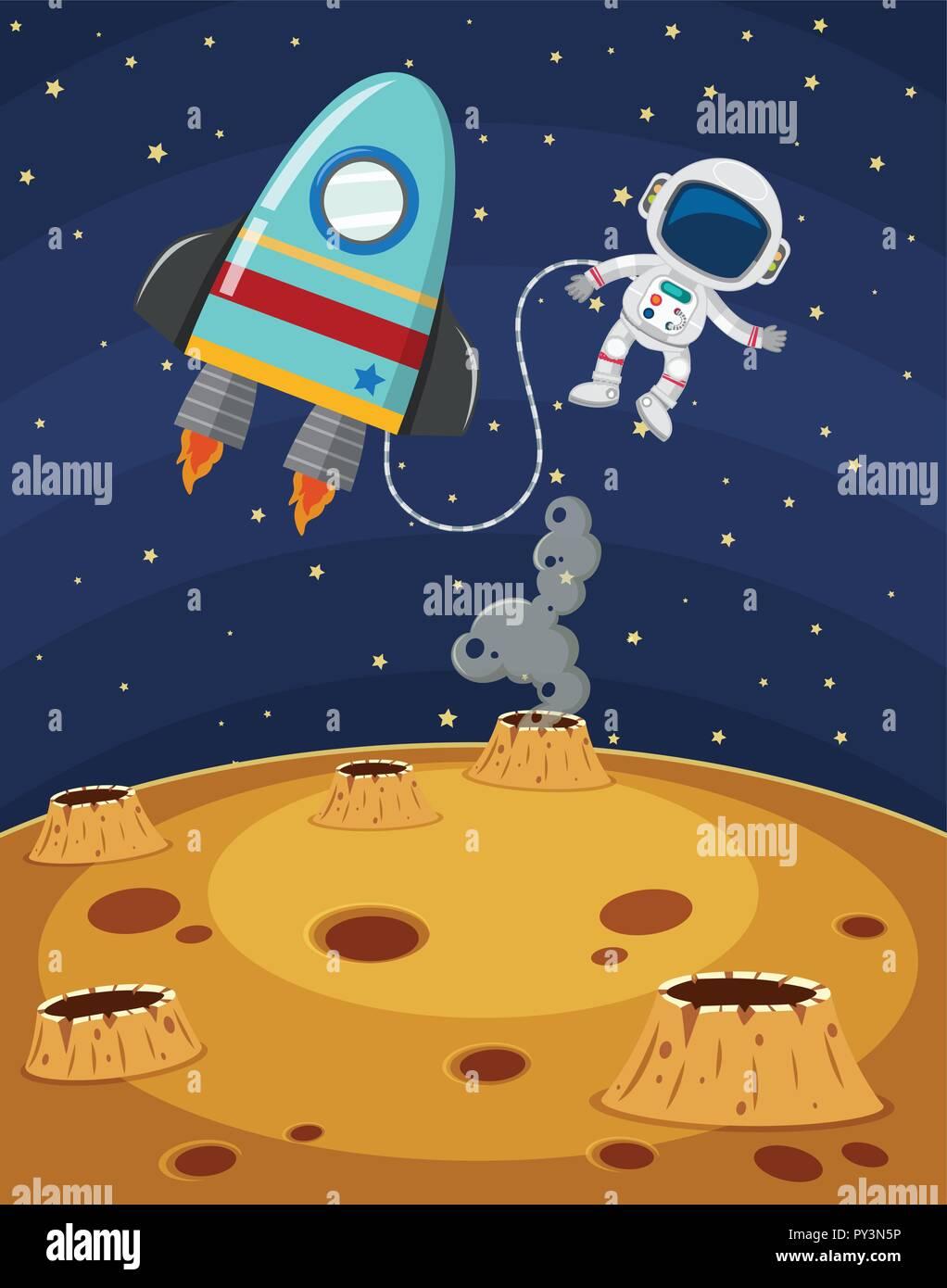 Astronaut Exploring Fantasy Planet Surface illustration - Stock Vector
