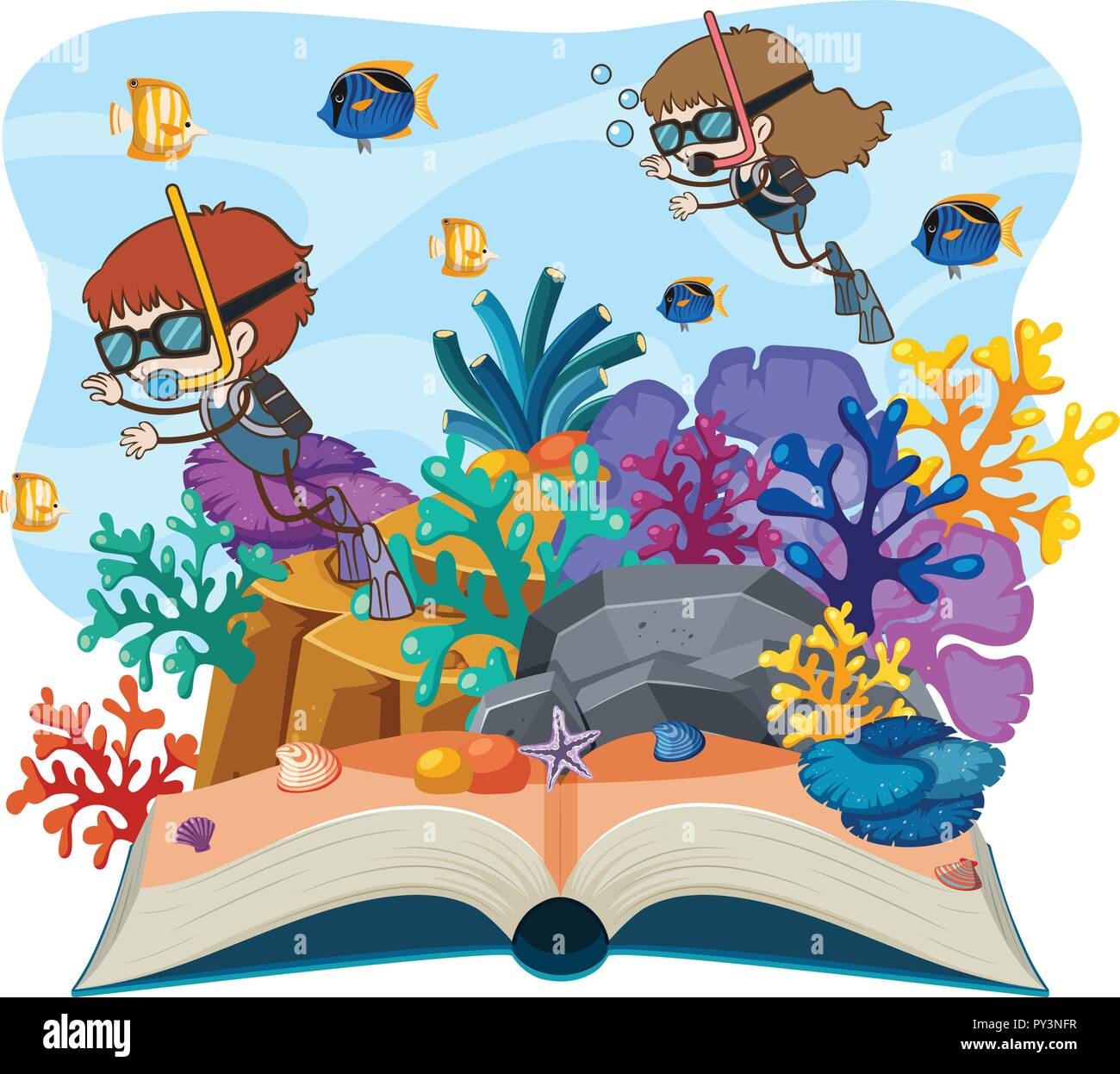 A diving open book illustration - Stock Image