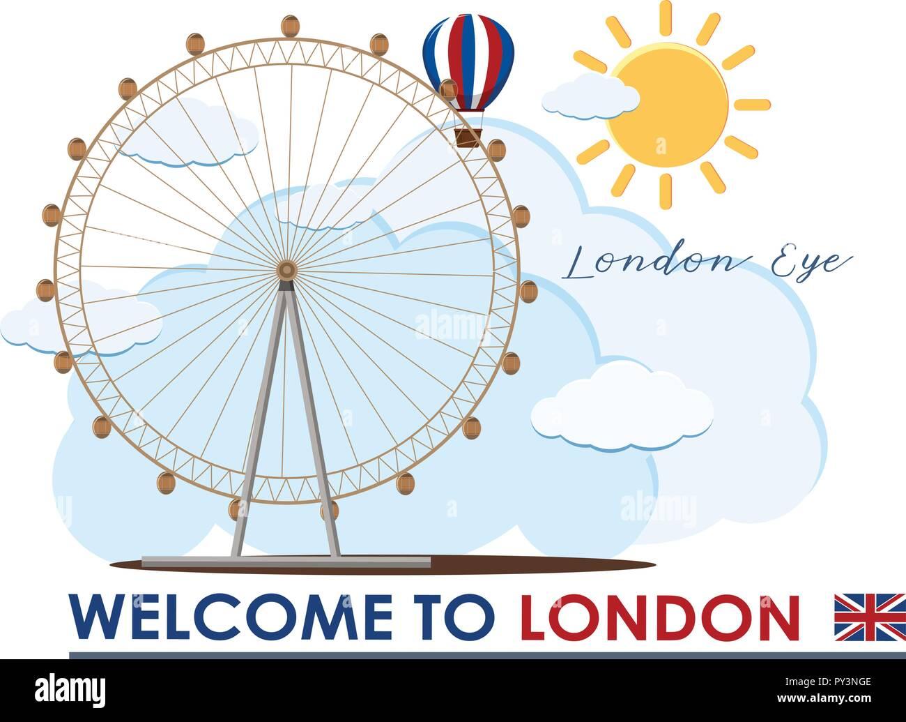 England London Eye Travel Landmark illustration - Stock Vector