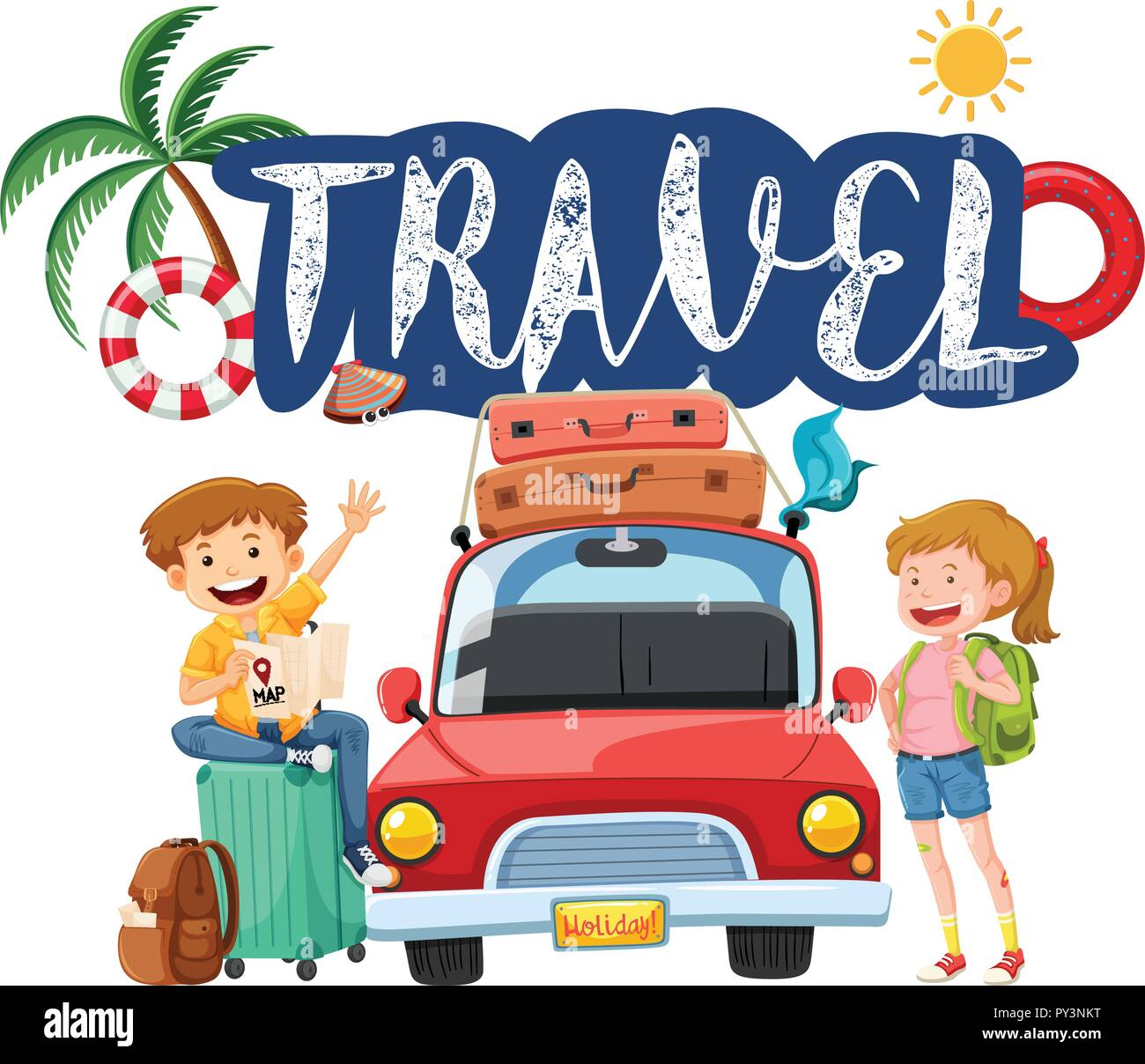 two young travellers concept illustration - Stock Vector