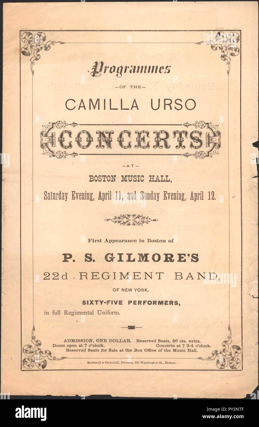 Camilla Urso Concerts - Boston Music Hall - U South Carolina. Stock Photo
