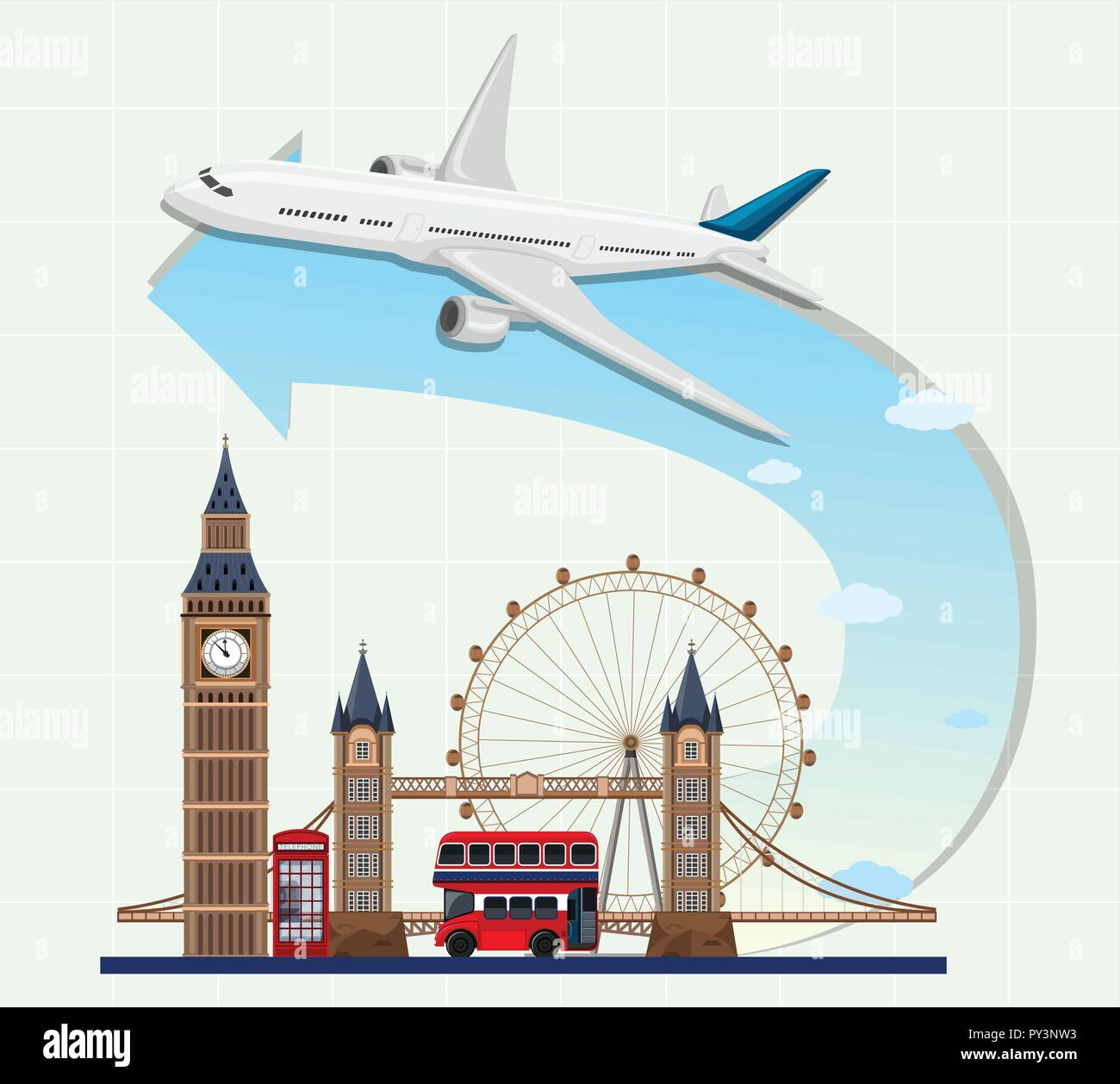 England landmarks with airplane illustration - Stock Vector