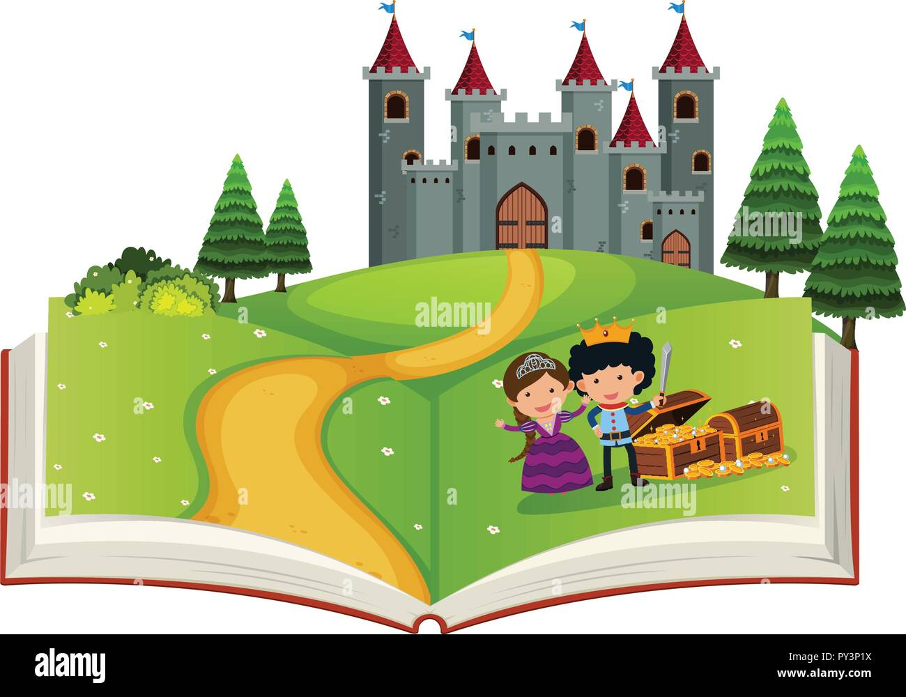 Open book fairy tale story illustration Stock Vector Art