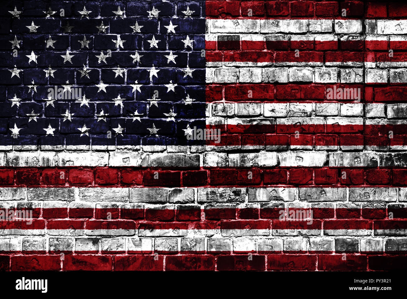 National Flag Of Usa On A Brick Background Concept Image For Usa