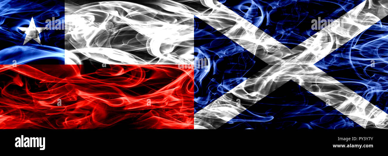 Chile, Chilean vs Scotland, Scottish smoke flags placed side by side. Concept and idea flags mix Stock Photo