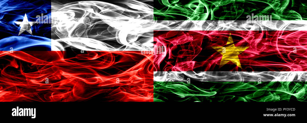 Chile, Chilean vs Suriname, Surinamese smoke flags placed side by side. Concept and idea flags mix - Stock Image