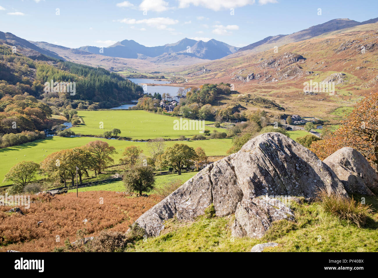 The Snowdon Horseshoe range from above Capel Curig, Snowdonia National Park, North Wales, UK Stock Photo