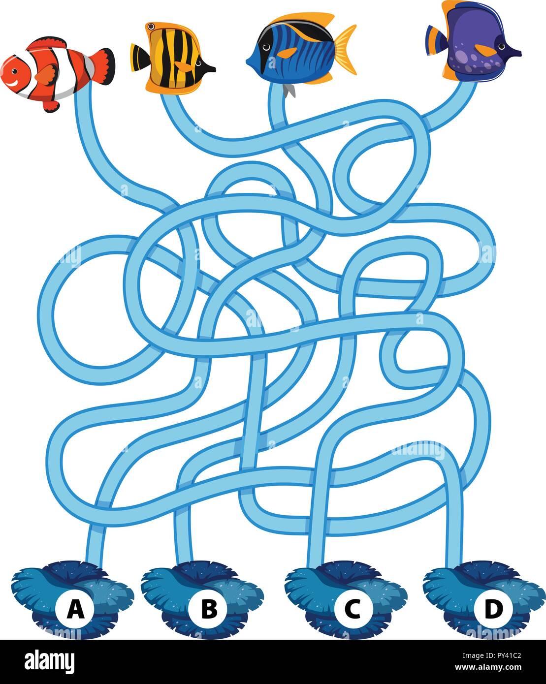 Fish Maze Puzzle Game Illustration Stock Vector Art Illustration