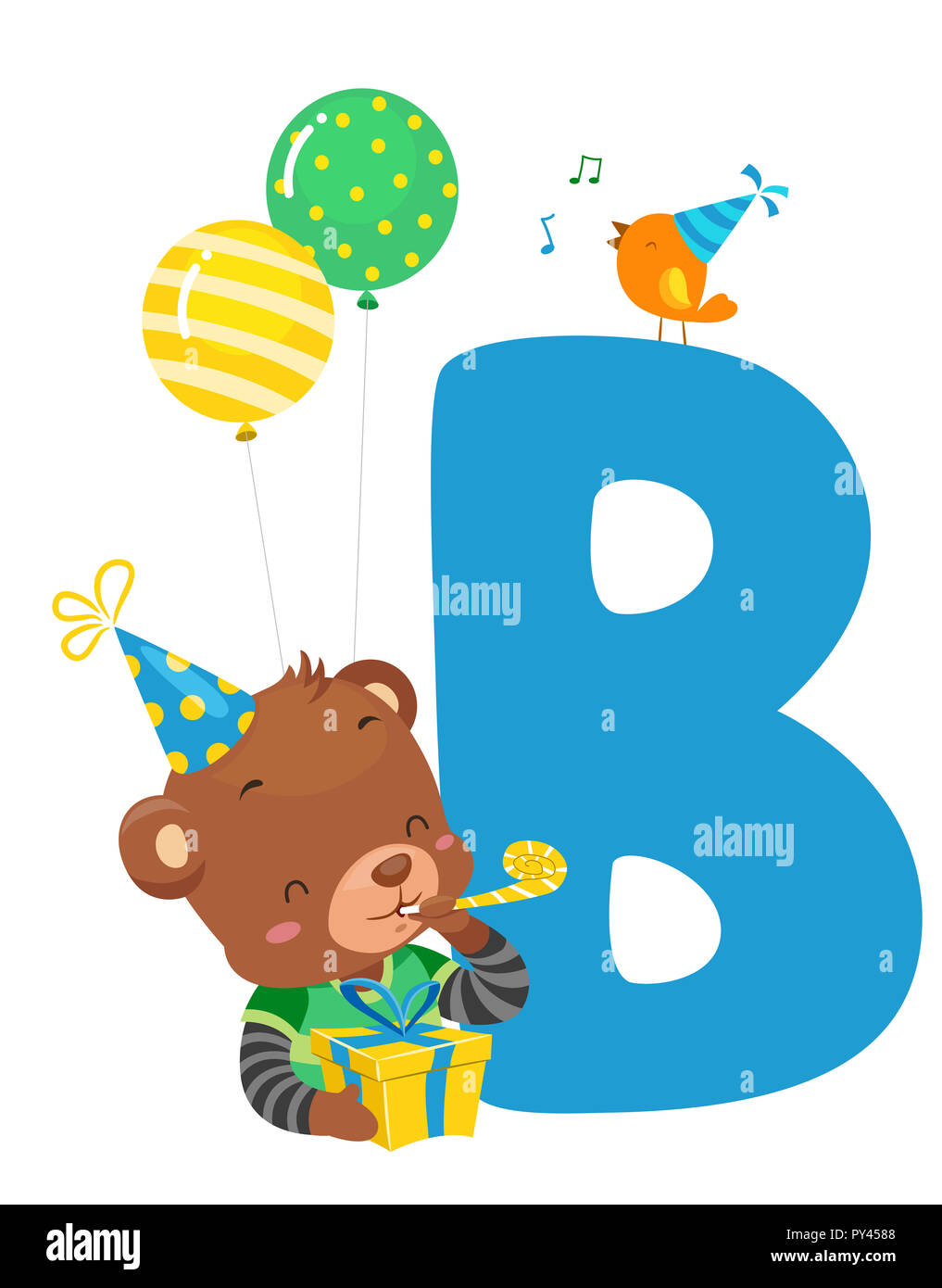 illustration of a brown bear with a bird a letter b and birthday party balloons hat and gift