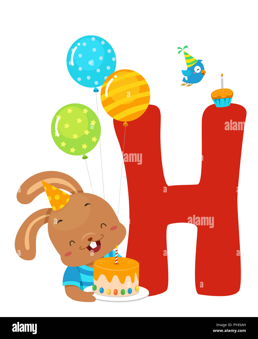 illustration of a hare with a birthday cake letter h and balloons