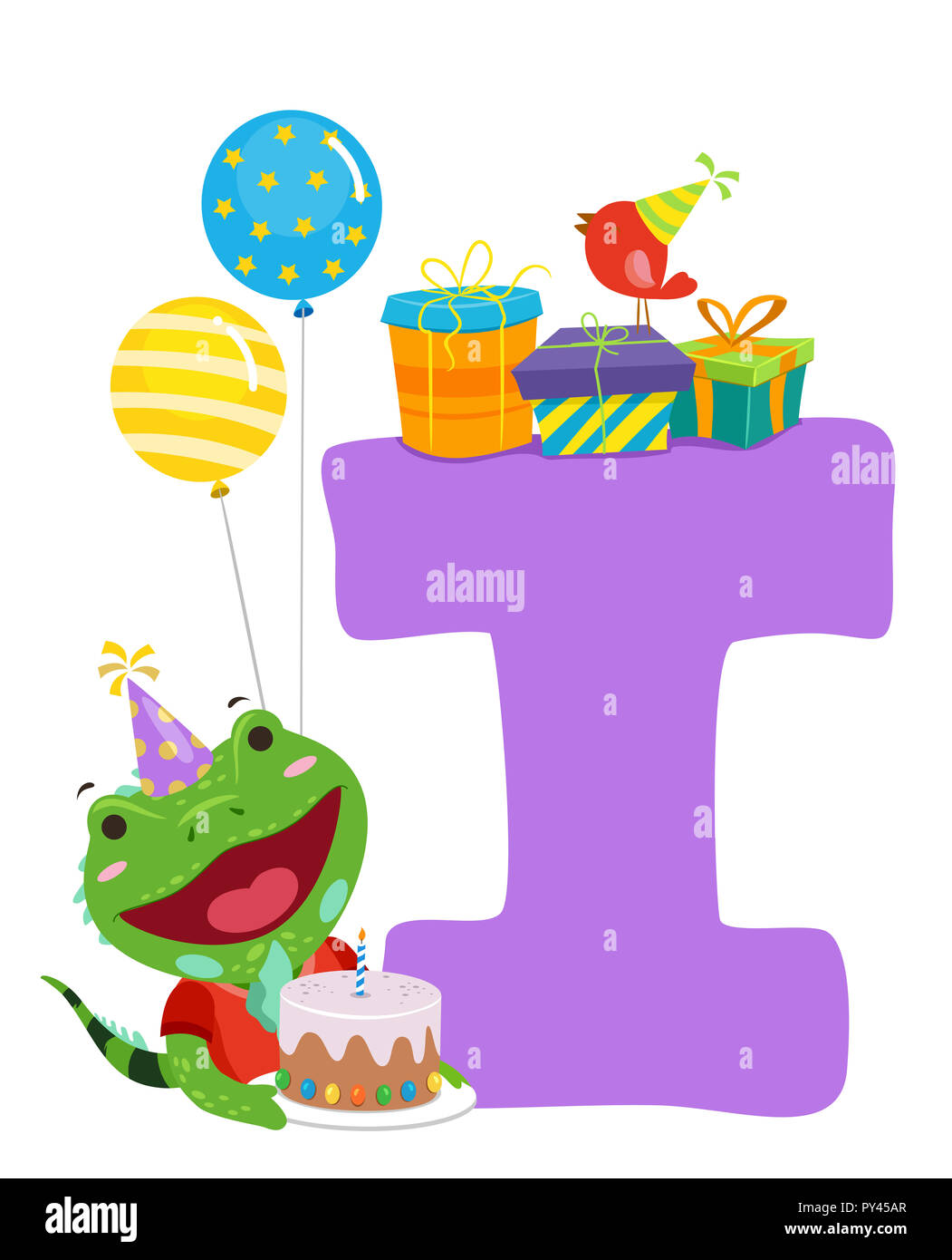 Illustration Of An Iguana With A Birthday Cake Balloons And Gifts