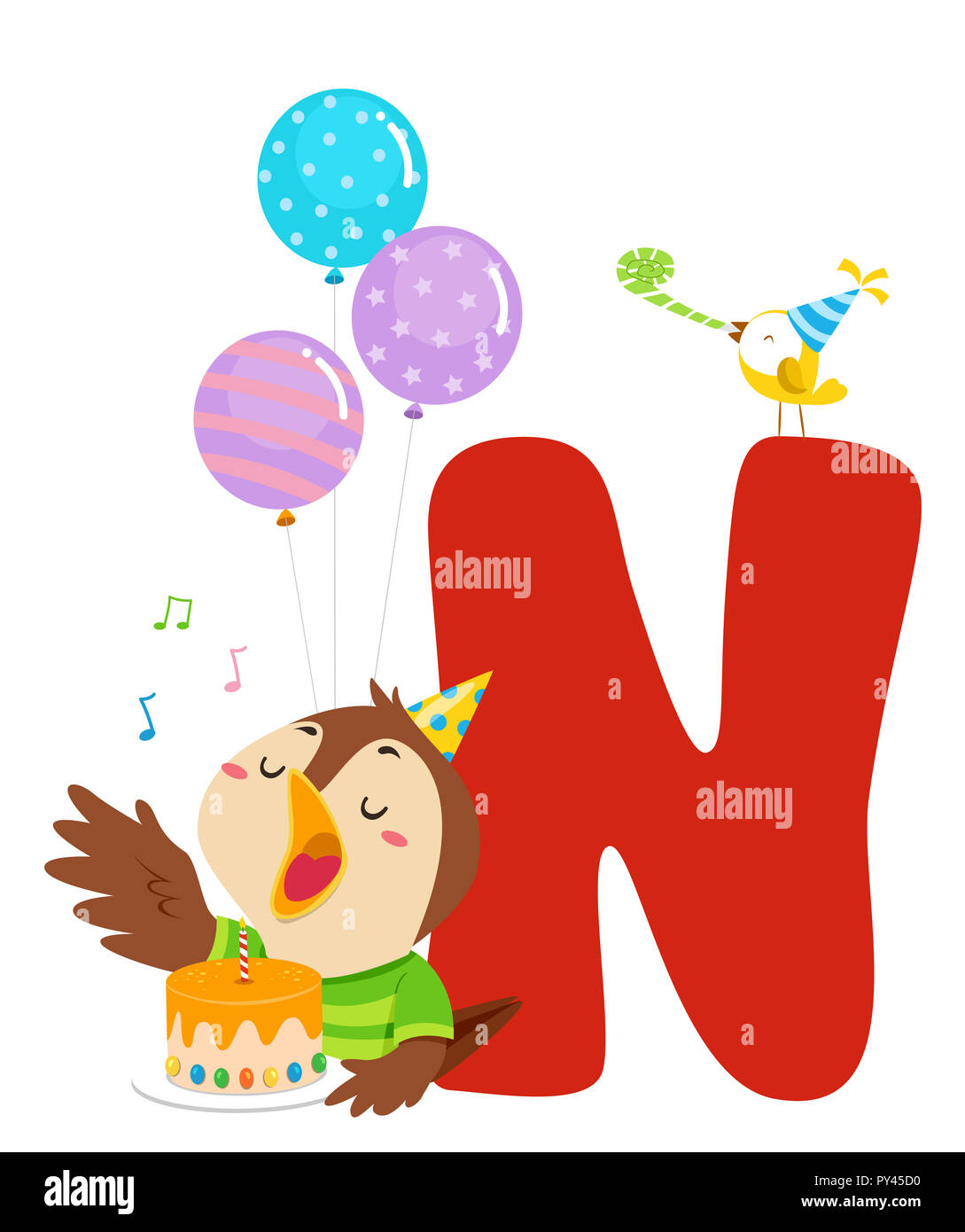 illustration of a nightingale bird singing and holding a birthday cake with balloons and letter n