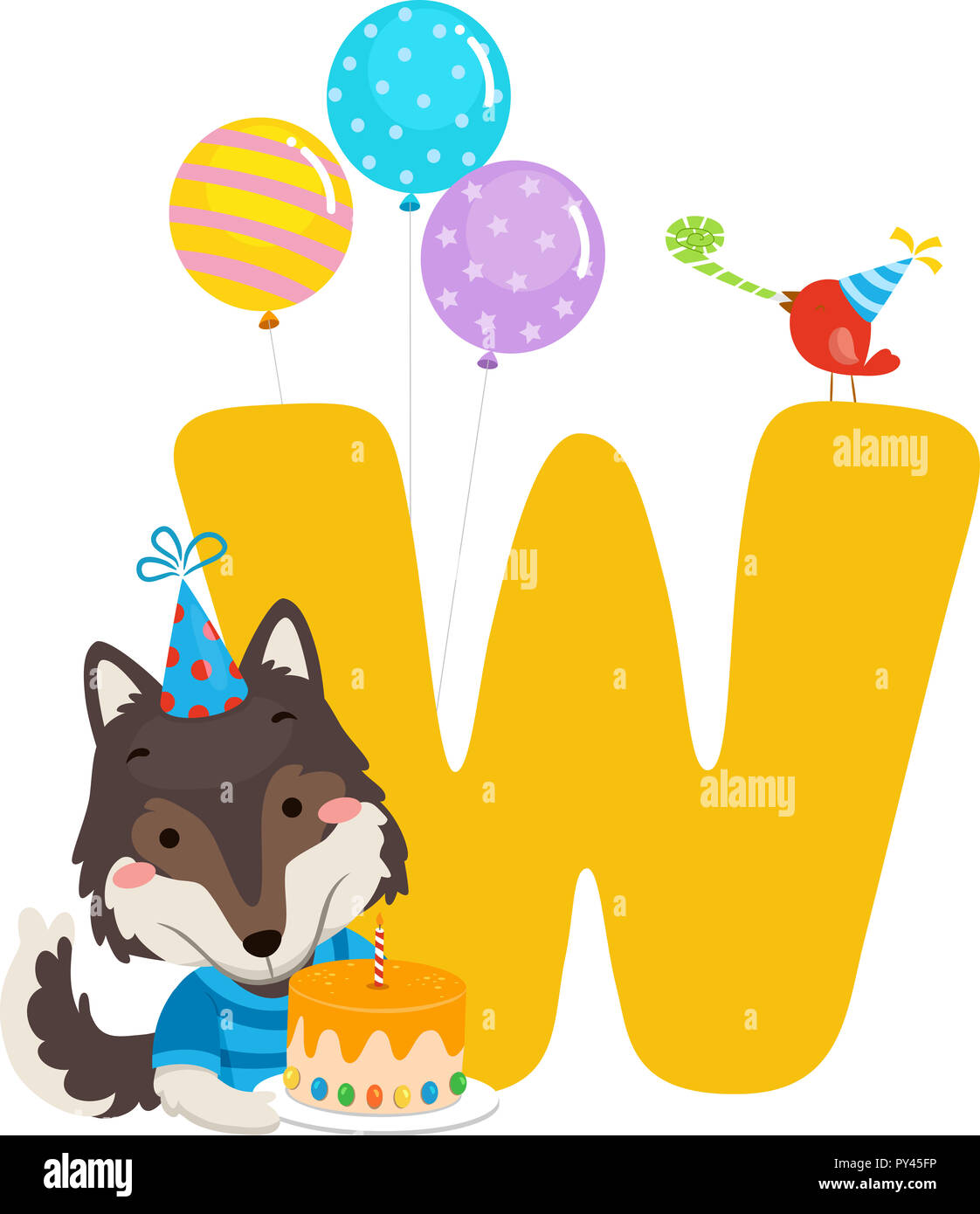 Illustration Of A Wolf Holding Birthday Cake With Balloons And Letter W