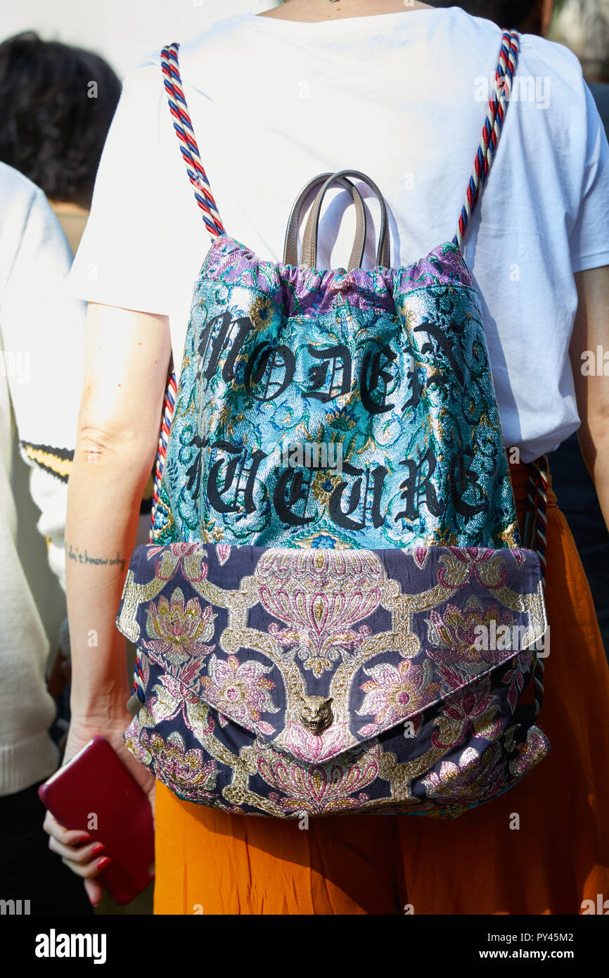 cadc961a690 MILAN, ITALY - SEPTEMBER 23, 2018  Woman with Gucci backpack with floral  pattern