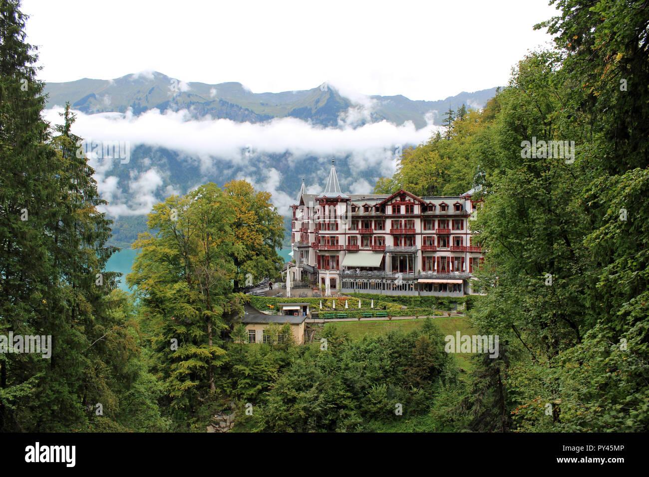 Grandhotel Giessbach Brienz Switzerland. 4 star romantic Grandhotel reached by private funicular from Lake Brienz Interlaken Stunning views.Waterfalls Stock Photo