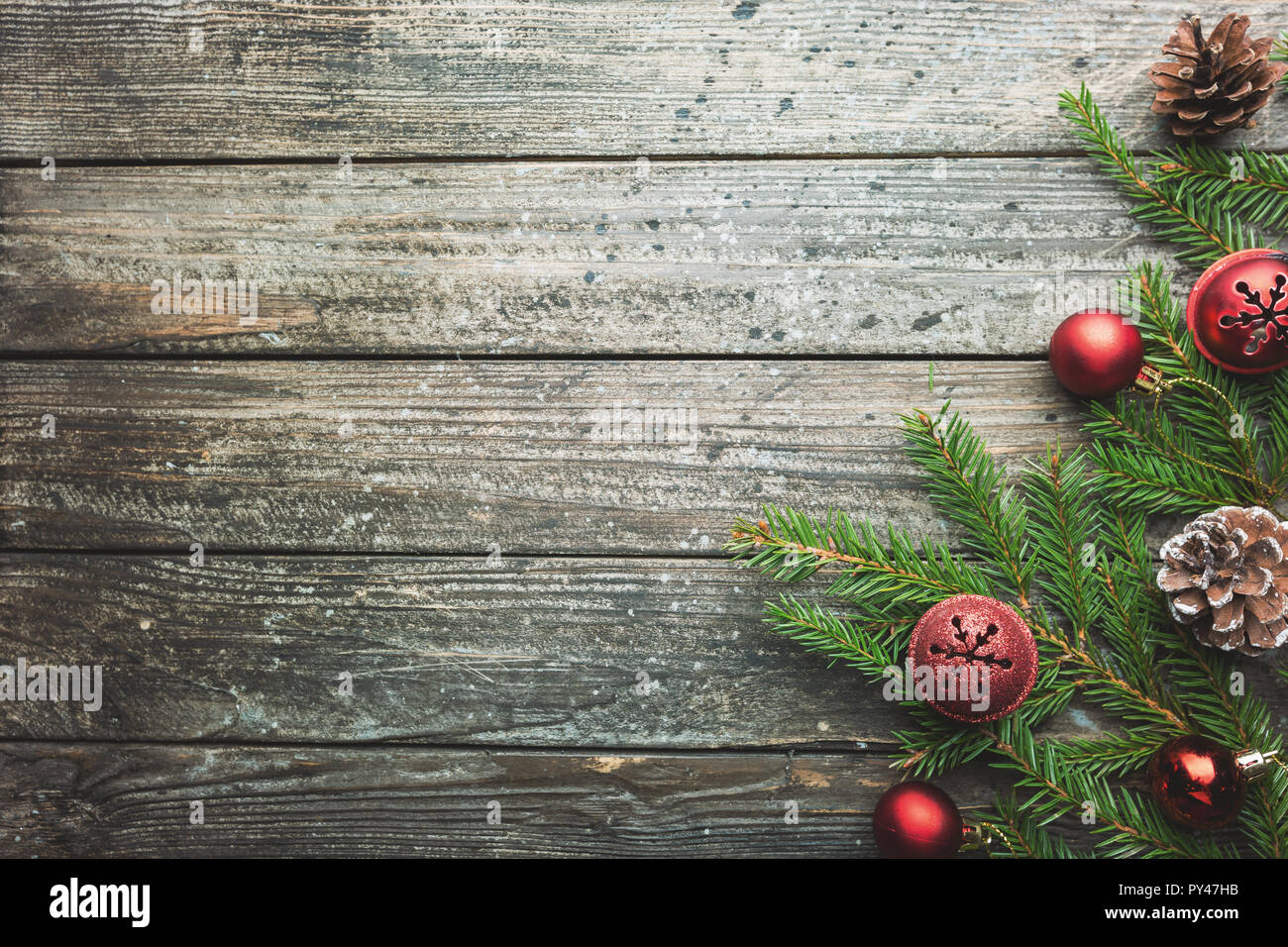 Christmas Wood Background.Christmas Wooden Background With Fir Tree And Decorations
