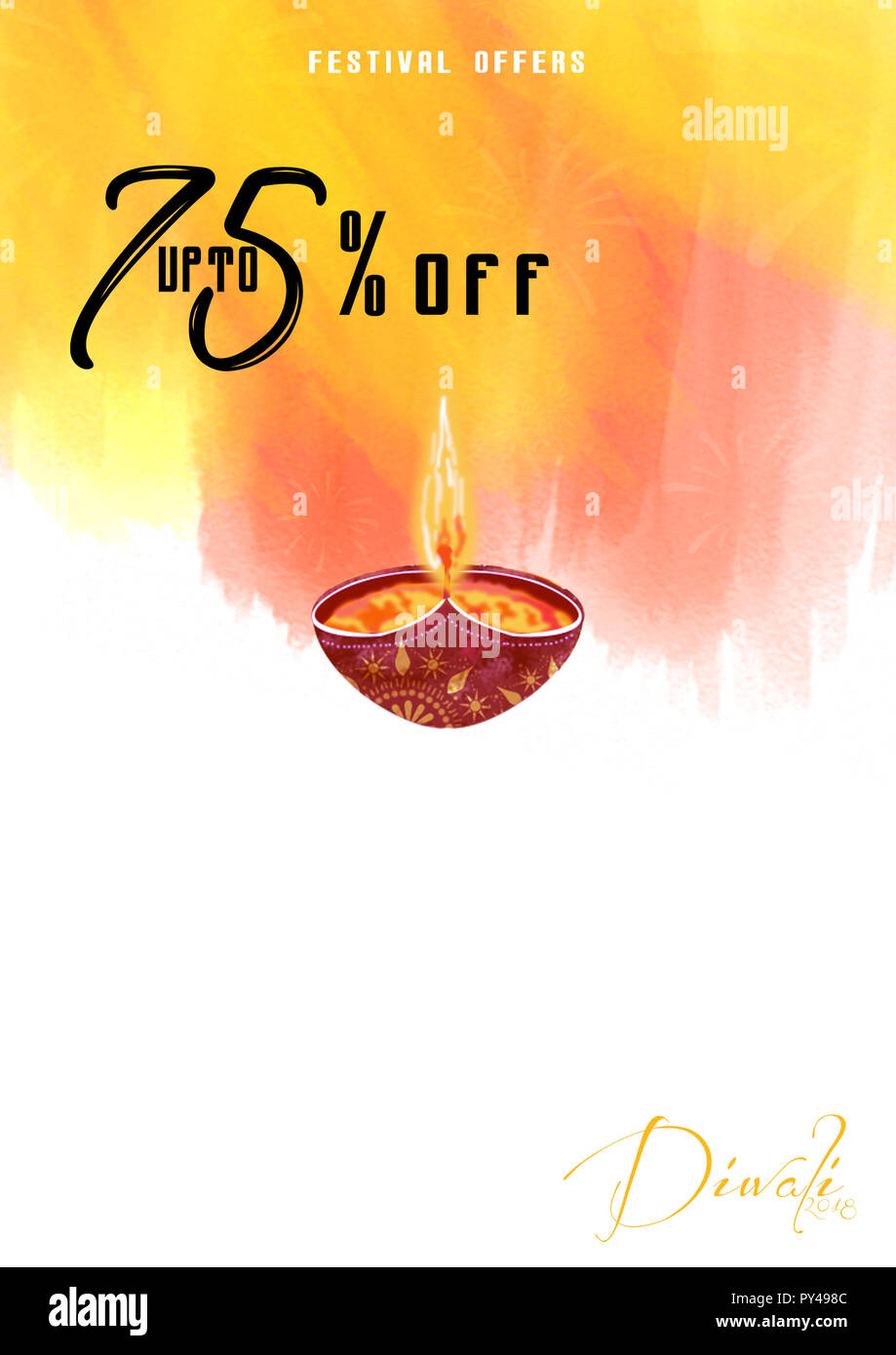 diwali festival offer poster design template with creative lamps and 75 offers
