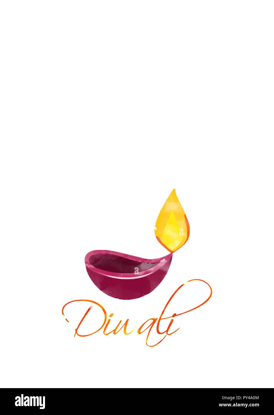 illustration of burning diya on happy Diwali Holiday white background Stock Photo