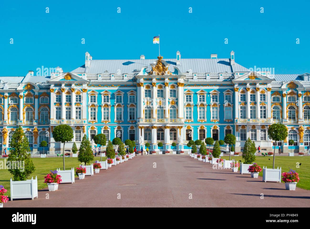 Catharine Palace, from 18th century, Catherine Park, Tsarkoye Selo, near Saint Petersburg, Russia - Stock Image