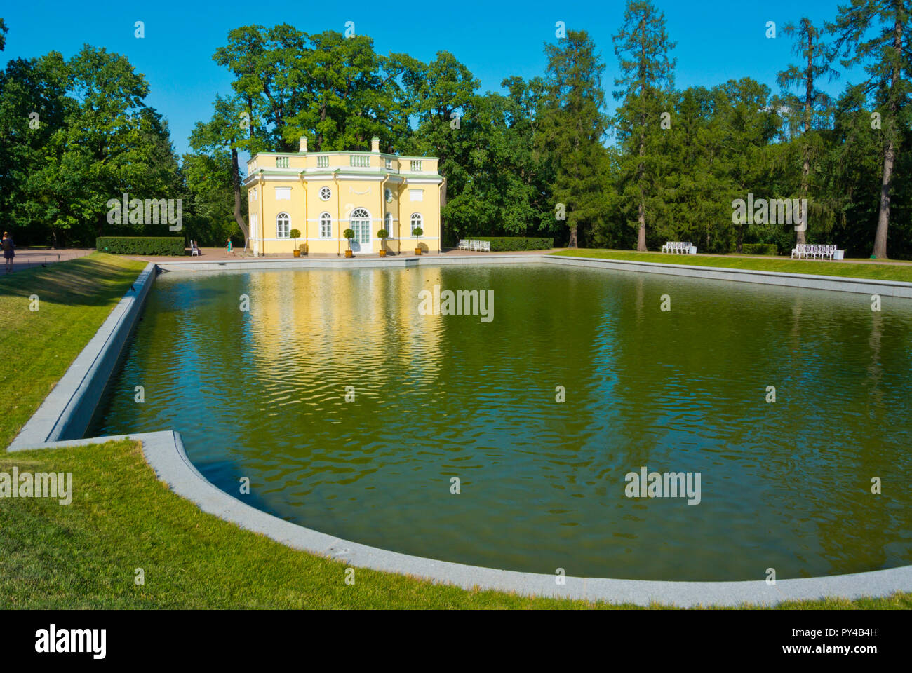 Upper Bathhouse, at Mirror Ponds, Catherine Park, Tsarskoye Selo, near Saint Petersburg, Russia - Stock Image