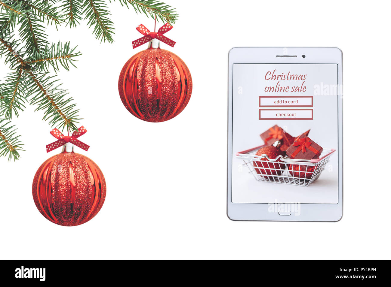 Christmas online sale. Tablet for buying gifts online on a white ...
