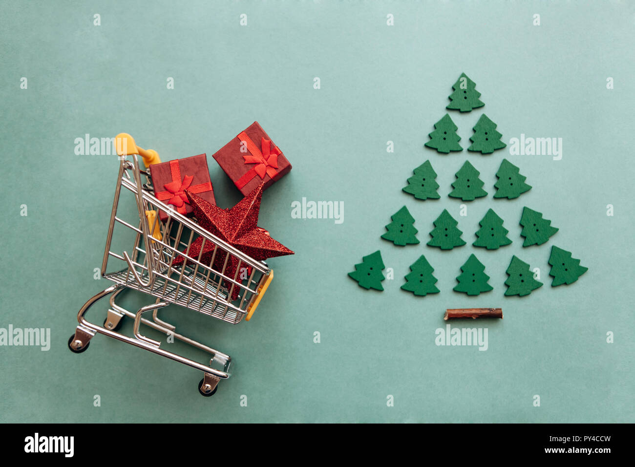 Conceptual photo of Christmas sales or gift shopping. Preparing for ...