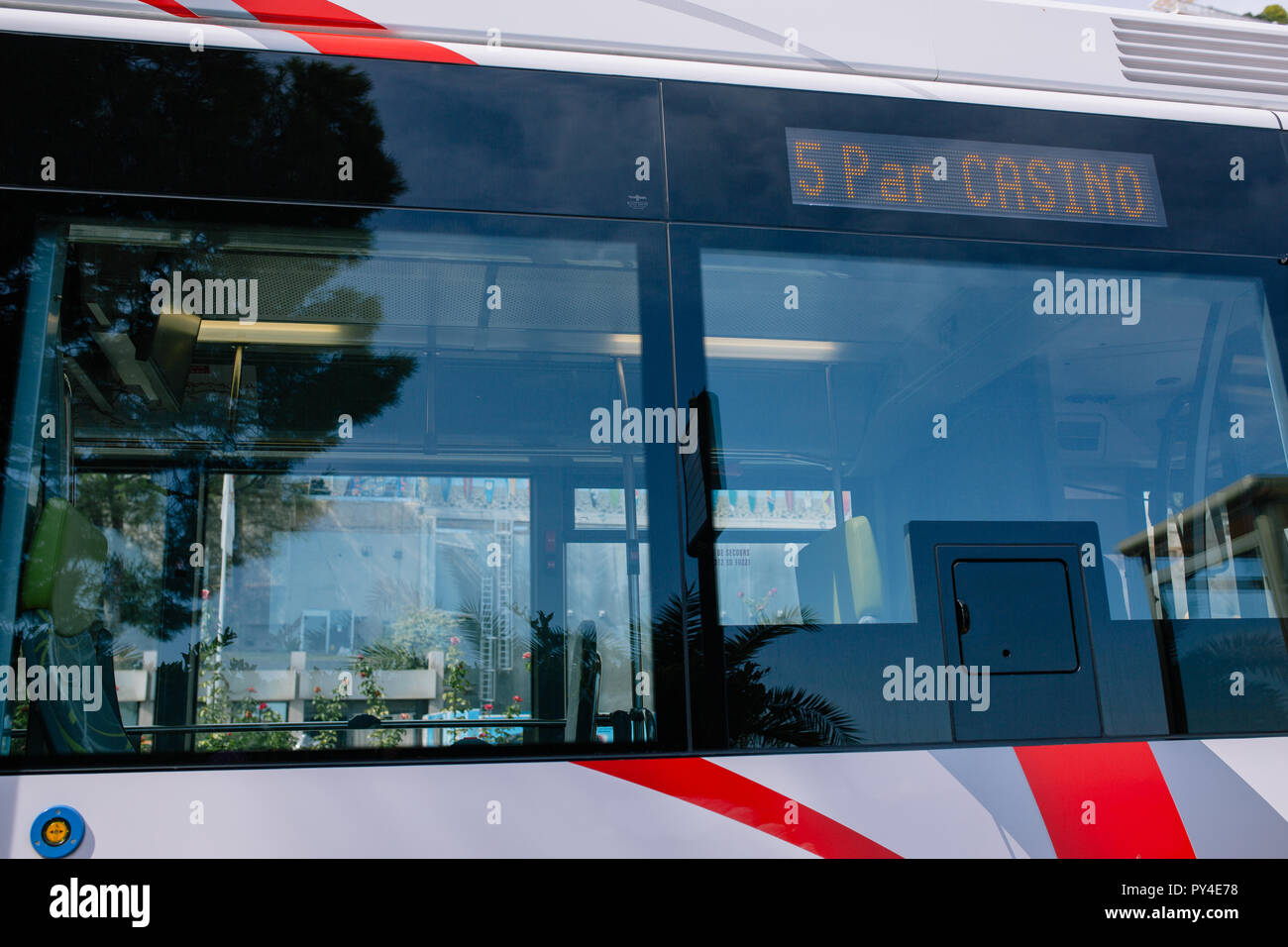 City Bus in Monaco public town transport Stock Photo