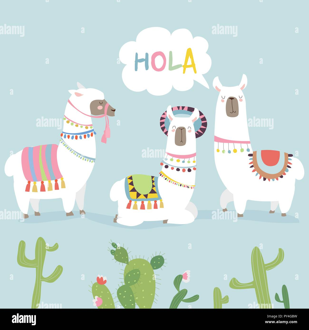 Cute friends mexican white alpaca llamas with cactuses - Stock Vector