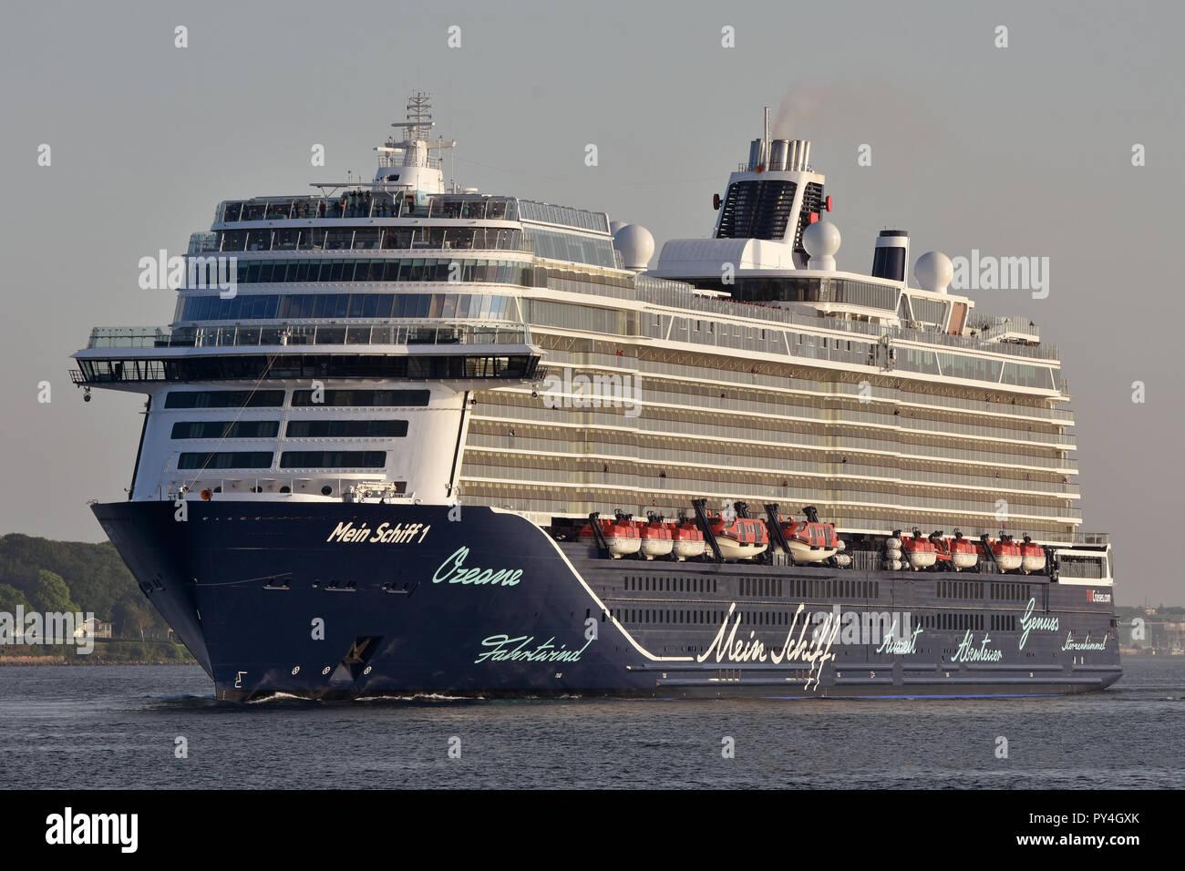Mein Schiff 1 outbound from Kiel Stock Photo