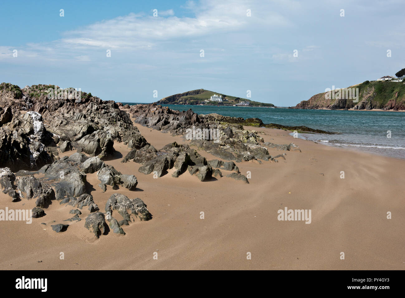 Looking across from the estuary of the River Avon at Bantham Beach to Burgh Island on a fine summer day, Devon, July - Stock Image