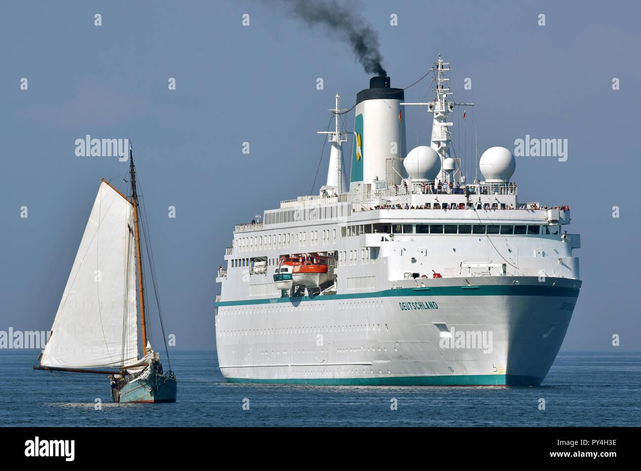 Cruiseship Deutschland inbound Kiel fjord - Stock Image