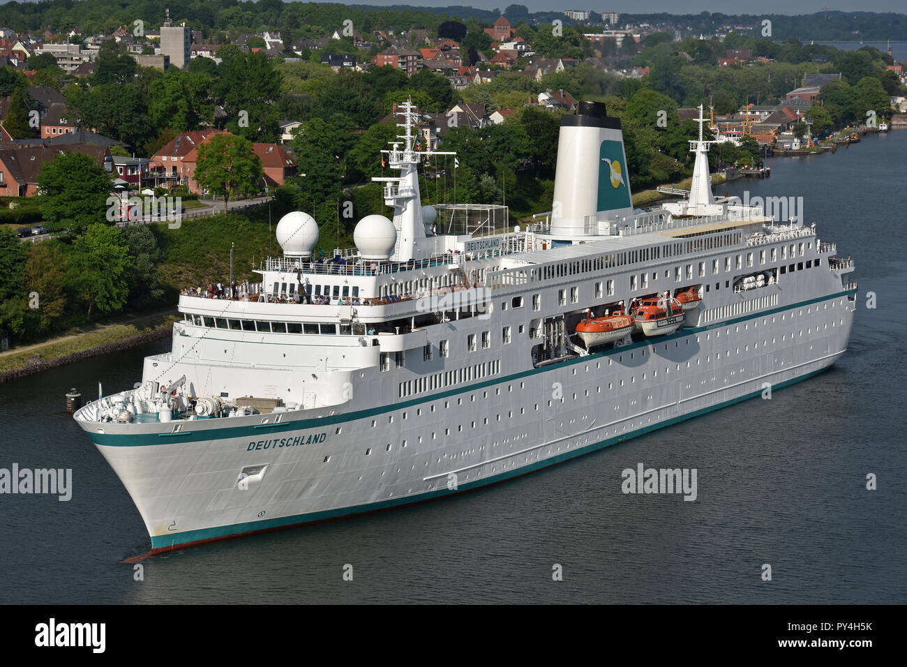 Cruiseship Deutschland passing the Kiel canal - Stock Image