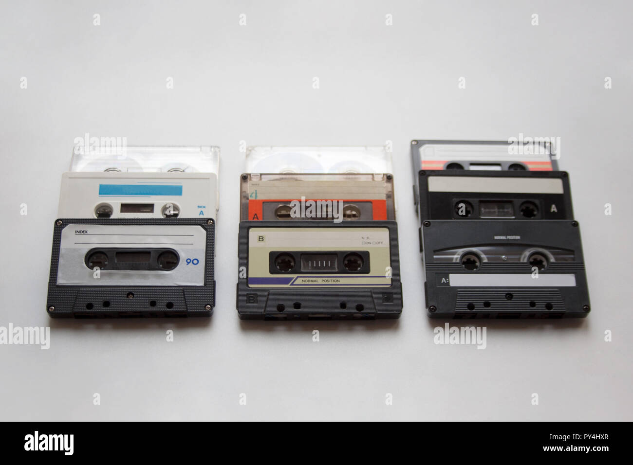 Retro audio cassette tapes isolated on white background - Stock Image