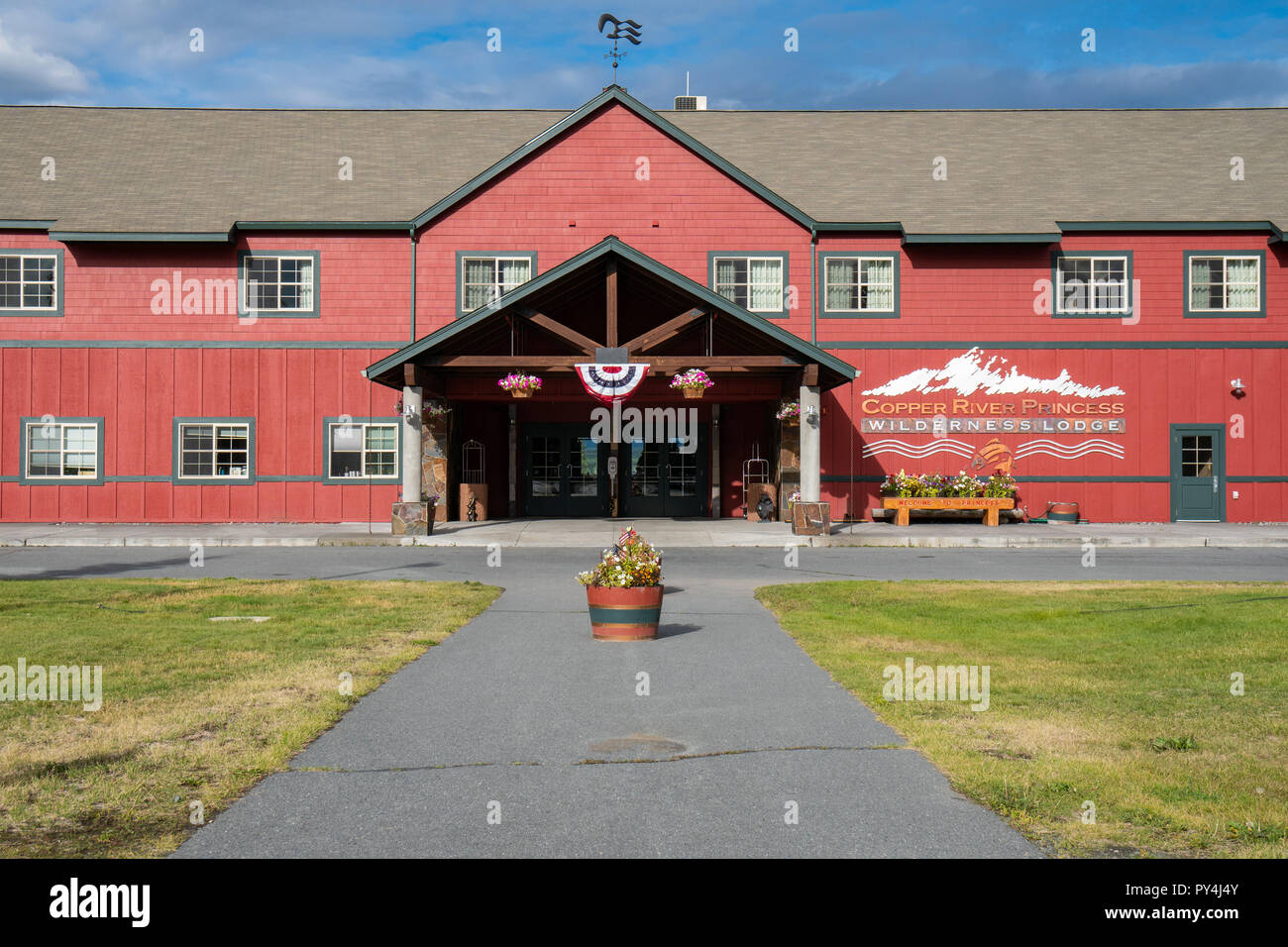AUGUST 9 2018 - COPPER RIVER, ALASKA: Copper River Princess Lodge is operated by Princess Cruise Lines and is an official hotel and lodging area for t - Stock Image