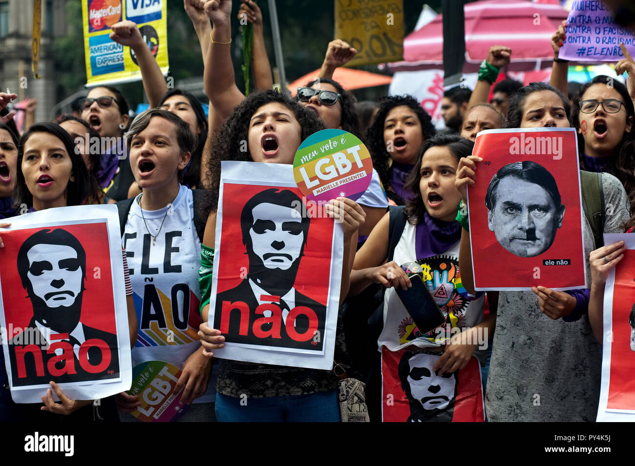 Rio de Janeiro - September 29, 2018: Brazilians took to the streets to protest against the far-right presidential candidate Jair Bolsonaro - Stock Image