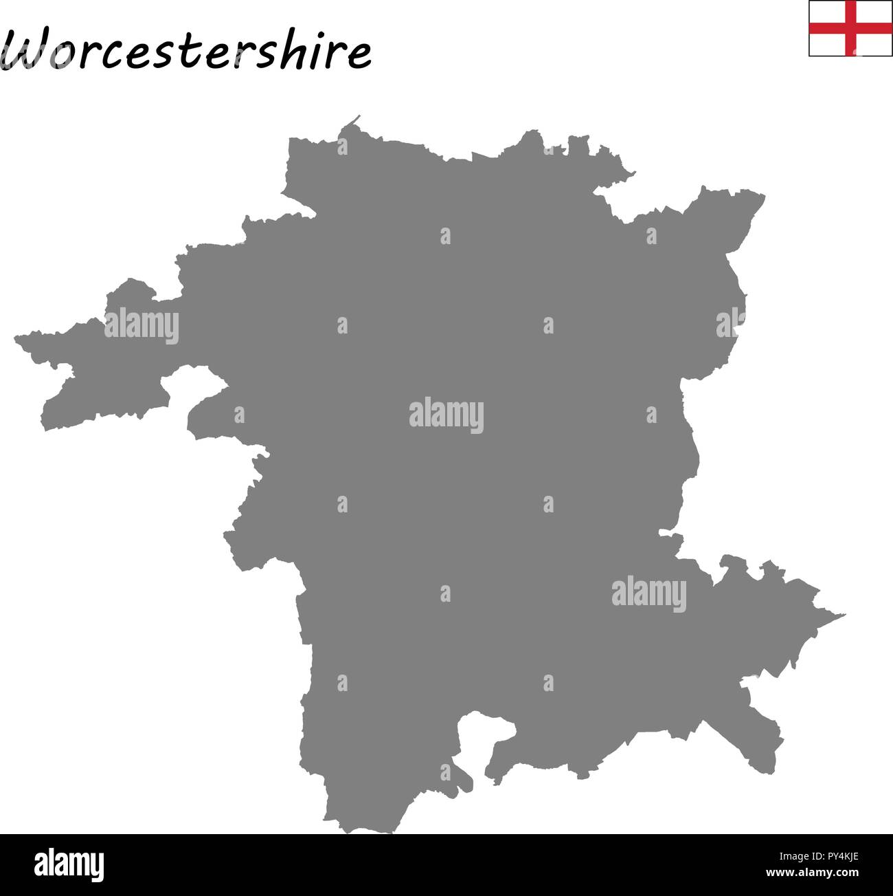 High Quality Map Is A Ceremonial County Of England Worcestershire