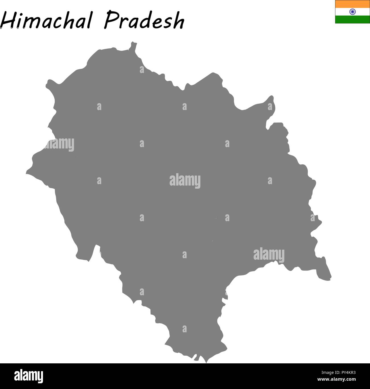 High Quality map of Himachal Pradesh is a state of India - Stock Vector
