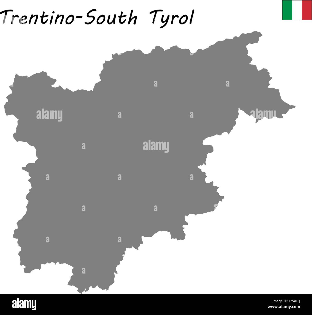 High Quality Map Of Trentino South Tyrol Is A Region Of Italy Stock