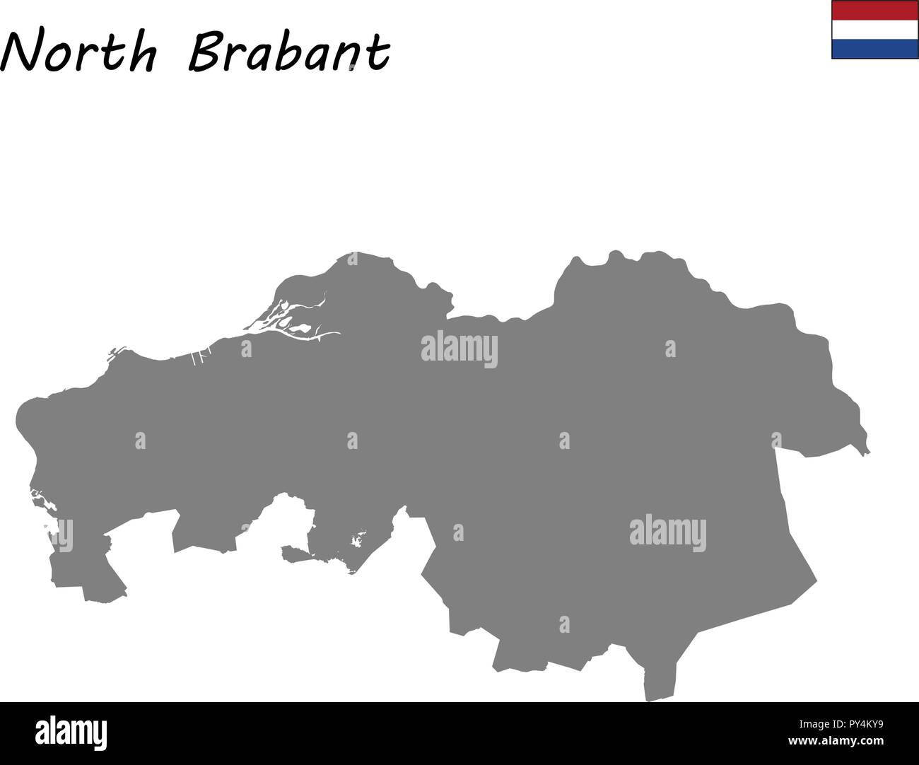 High Quality map province of Netherlands. North Brabant - Stock Vector